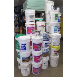 Multiple 5 Gallon Pails: Elastahyde, Silicone Coatings, Paint, Primer, etc