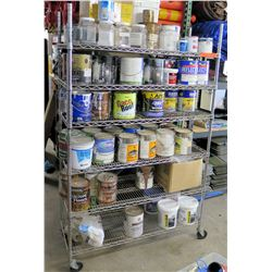 Metal Wire Shelf & Contents: Primer, Sealer, Reflect-Tec Finish, Paint, etc