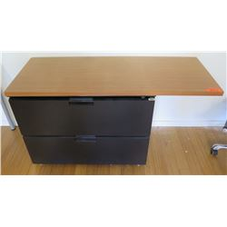 Wood Desk w/ 2 Drawer Lateral File Cabinet Underneath
