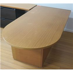 """L"" Shaped Wood Bullet Desk w/ Curved End & 2 Drawer Lateral File Cabinet"