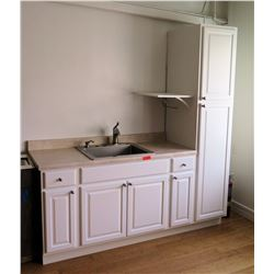 Kitchen Cabinet System w/ Pantry, Steel Sink, Countertop & Drawers (currently installed on 2nd flr)