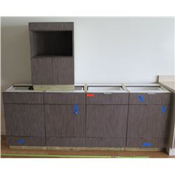 Qty 4 Brown Cabinet System Salon Station Bases w/ Pull Out Drawers