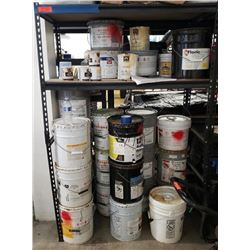 Black Metal Shelving with Misc. Paint
