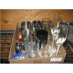 BOX OF ASSORTED GLASSES, CUPS, MUGS