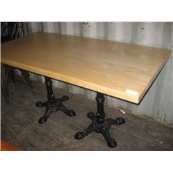 30 X 60 INCH DOUBLE BASE BLONDE TABLE