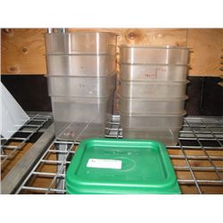 3PC 4 QUART AND 5 PC 2 QUART CAMBRO FOOD STORAGE CONTAINERS WITH LIDS