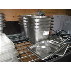 8PC ONE SIXTH STAINLESS STEEL INSERTS WITH LIDS