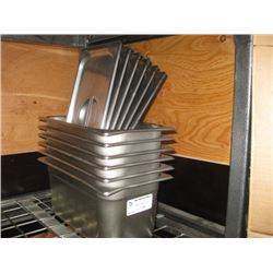 6PC ONE THIRD STAINLESS STEEL INSERTS WITH LIDS