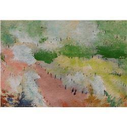 peinture LangdonArt La Route Rose ou La Colline Rose - Pink Road or Pink Hill LangdonArt painting