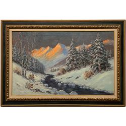 Winter Mountain Sunrise Painting by Helio Wernegreen  (121240)