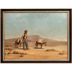 Desert Prospector & Burros Oil Painting on Masonite by Victor Clyde Forsythe  (120919)