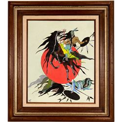 Stylized Native American Warrior Painting  (120815)