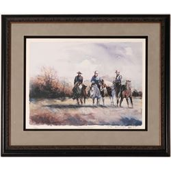 Ranch Horses Serigraph by Nevada Artist?  (114387)