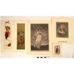 Women-Themed Vintage Matted Fine Art Prints (5)  (118919)