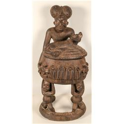 Cameroon Antique Wood Fertility Statue with Urn, Hand-Carved from One Tree  (102123)