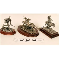Pewter and Wood Native American Statuettes (3 pieces)  (118999)