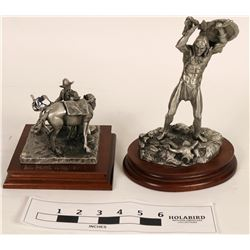 Pewter Cowboy and American Indian Statuettes (2)  (120644)