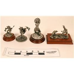 Pewter Mini Native American Statues (4)  (120648)