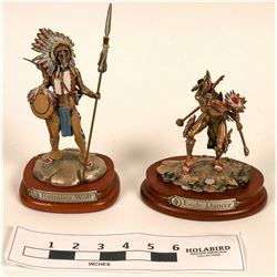 Pewter Native American Statue Pair (Fine Multi Media)  (120642)