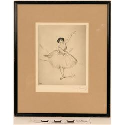 Ballerina Dry Point Etching on Wove Paper  (120871)