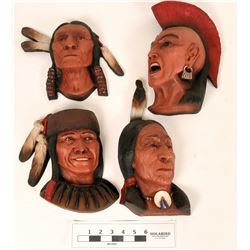 Four Ceramic Native American Masks  (121085)