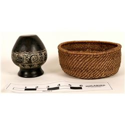 Pomo basket and Indian pottery  (121559)