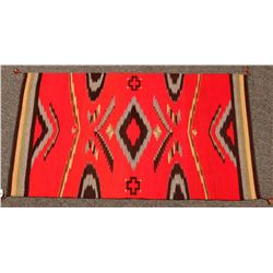 Navajo Rug, Red, Black & Grey Diamond Pattern  (122300)