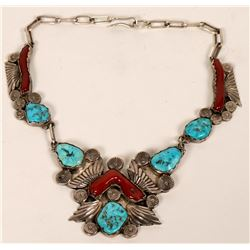 Handmade Turquoise and Coral Necklace  (121027)
