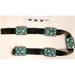 Vintage Navajo Sterling Silver & Turquoise Cluster Belt  (121024)