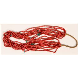 10-Strand Natural Red Coral Necklace  (120991)