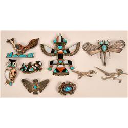 Four Zuni Inlay Pins, Plus More...  (119489)
