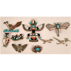 Four Zuni Inlay Pins, Plus More...  (119489)