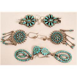Three pair Zuni Earrings  (121195)