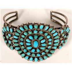 Zuni Vintage  Turquoise Cluster Petit Point Bracelet  (120985)