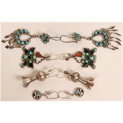 Four Pair Zuni & Navajo Earrings  (121194)