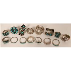 Lot of 15 Native American Rings  (121110)