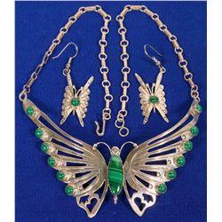 Malachite Butterfly Necklace Set  (120597)