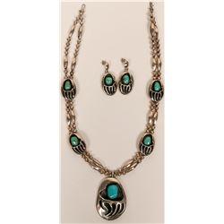 Navajo Made Bear Claw Design Necklace Set  (117010)