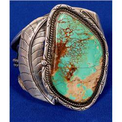 Navajo Turquoise Cuff Bracelets, Large Vintage Beautiful Example!  (121991)
