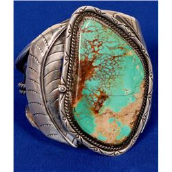 Navajo Turquoise Cuff Bracelets, Large Vintage Beautiful Example!  (121991)