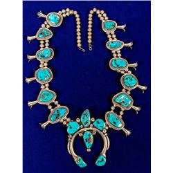 Spectacular Turquoise Silver Squash Blossom Necklace  (121663)