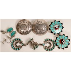 Zuni and Navajo Clip Earrings  (121196)
