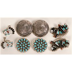 Zuni and Navajo Clip Earrings  (121197)