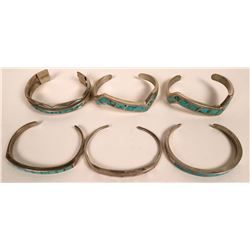 Zuni and Navajo Turquoise Inlay Cuffs  (121093)