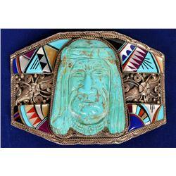 Zuni Style Indian Head Belt Buckle  (121990)