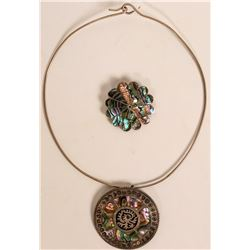 Taxco Abalone Inlay Jewelry  (121225)