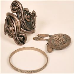 Taxco Silver Clamper Cuff and Brooch  (121224)