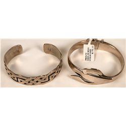 Sterling Silver Wrist Cuff Bracelets (2)  (121511)