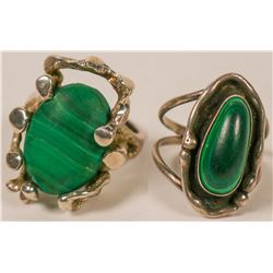 Vintage, Hand-Crafted Artisan Sterling Silver & Malachite Rings -  (Lot of 2)  (120890)