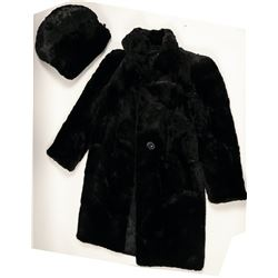 Coat, Ladies Short Nap, Black Fur with Fur Hand Warmers  (91340)